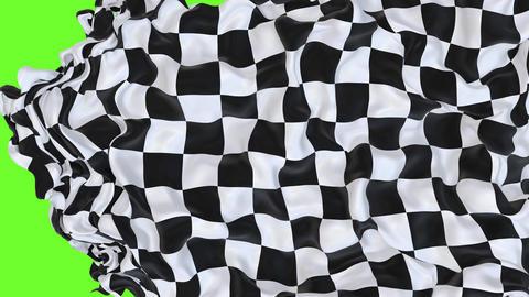 Checkered race flag UHD 3D animation with alpha matte CG動画