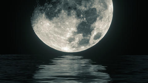 UHD combination of the live footage and 3D animation of a moon waterscape CG動画