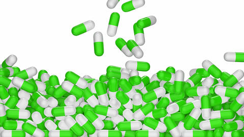 White/green pills are falling down and filling the screen UHD 3D animation with alpha matte CG動画