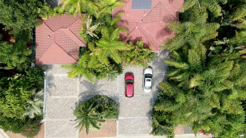 Aerial top view of large-scale wealthy residential villa front entrance Live Action