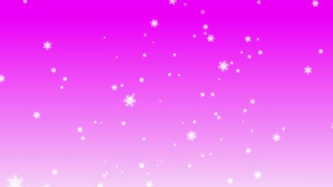 雪が上から降ってきます 背景はピンク CG動画