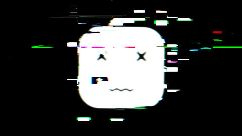 Cartoon glitch smile Face emoticon sign Geometric art Glitch effect Retro vhs Live Action