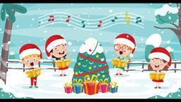 Christmas Greeting Card Design With Cartoon Characters 애니메이션