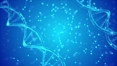 abstract blue DNA double helix with shallow depth Live Action
