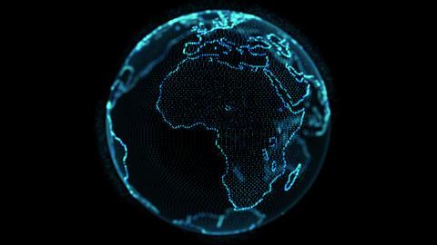 Abstract Rotating Digital World HUD Globe from Live Action