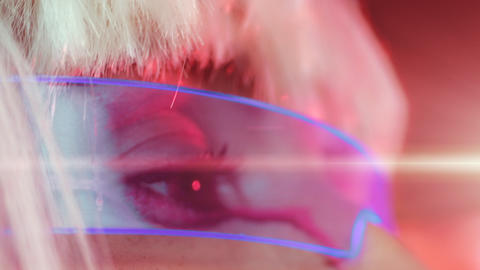 Woman in neon glasses, close-up Live Action