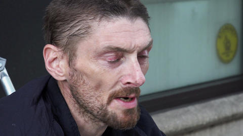 drug addicted man asking for the charity Footage