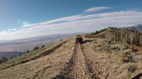Recreation vehicle off road climb mountain top trail POV HD 938 Footage