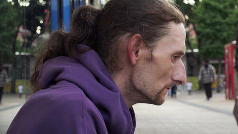 homeless smoking and asking charity: jobless in the street Footage