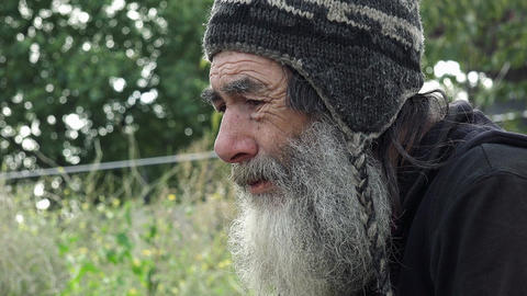 depressed old sad man living alone in the street: homeless Footage