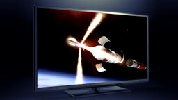 Separation stage of the rocket on the TV screen Footage