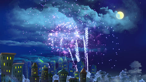 New Year's Eve Fireworks Over the City Animation