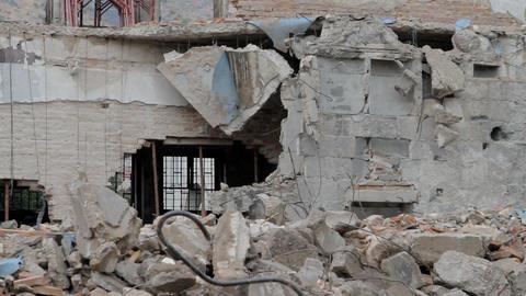 Dangerous demolition site Footage