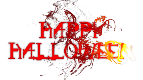 Burning Red Happy Halloween Text Reveal with Alpha Channel 애니메이션