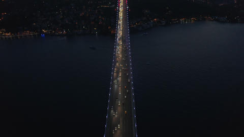 Birds Eye Top Down View of Bridge at Night with Car traffic looking up revealing ライブ動画