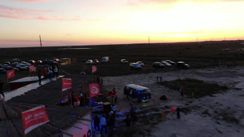 27.07.2020, Genichesk, Ukraine, big festival on the beach with people and cars ライブ動画