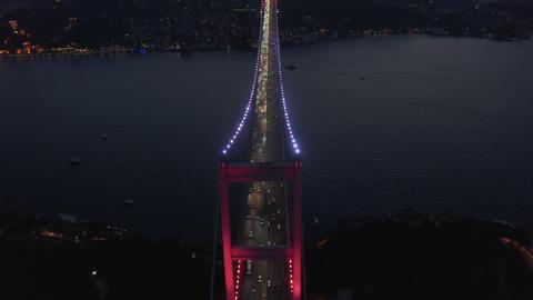 Beautiful Red Bridge over Bosphorus in Red light at Night with Car Traffic ライブ動画