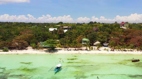 Sandy beach and tropical sea. Panglao island, Philippines ライブ動画