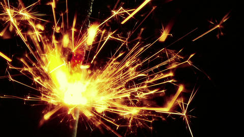 firework sparkler burning on black background, congratulation greeting party happy new year, 실사 촬영