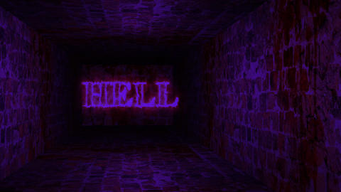 Mystical interior of dark empty corridor, tunnel in an abandoned house. Dark mysterious corridor Animation
