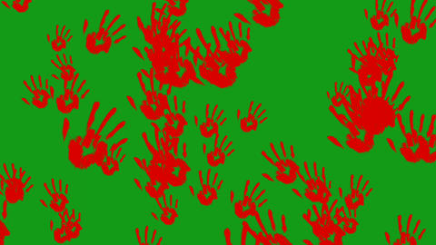 Scary red hands motion graphics with green screen background Animation