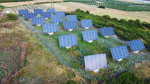 Solar power station with solar panels for energy saving and renewable energy Live Action