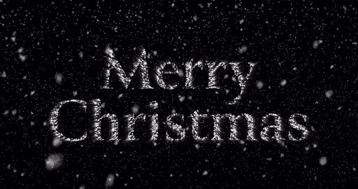 Merry Christmas glowing text appearing with falling snowflakes Animation