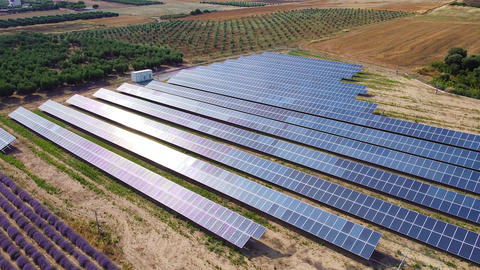 Solar panels power station on the fields. Alternative energy and renewable energy. Aerial view Live Action
