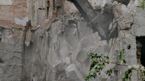 Building demolishing site Footage