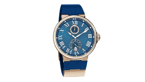 Wrist watch blue and gold CG動画素材