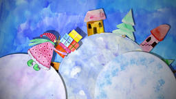 Winter animation watercolor drawing with girl with gift boxes, dog and snowman Animation
