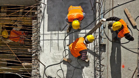 Construction site workers - aerial - Top View Footage