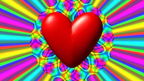 Love heart with rainbow waves seamless loop video GIF