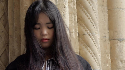 sad and lonely chinese woman: depressed asian woman Footage