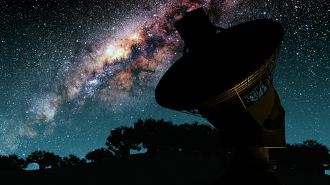 Milky Way Galaxy Night Timelapse Passes Giant Satellite Dish. Elements of this i Footage