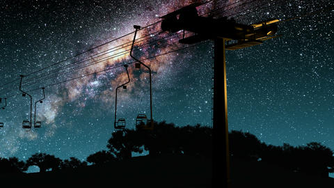 ski resort and Milky Way stars at night. Elements of this image furnished by NAS Footage