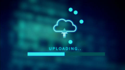 upload screen progress bar on technology background Animation