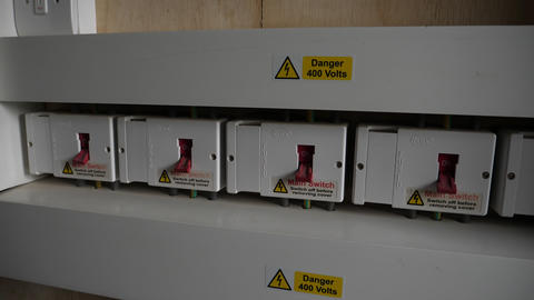 Row of domestic main electricity switches 실사 촬영
