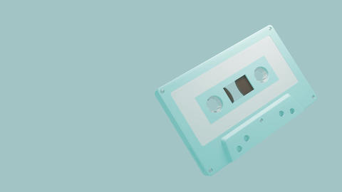 Pale blue cassette tape isolated on a blue text space Animation