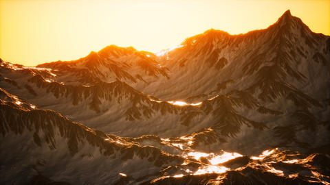 Aerial view of the Alps mountains in snow GIF