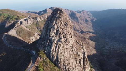 Aerial view of Roque Agando, bordering Garajonay National Park, La Gomera GIF