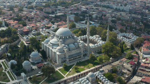 Suleymaniye Mosque with clear Sky and Impressive Architecture in Istanbul Live Action