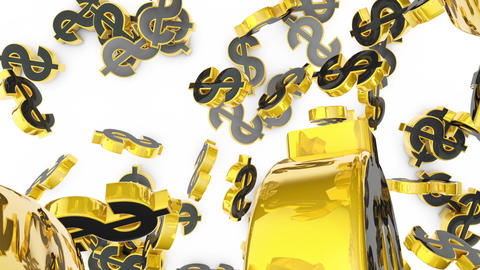 Gold dollars barses. Money is falling. A symbol of wealth and prosperity. Gold Dollars. 3D animation Animation