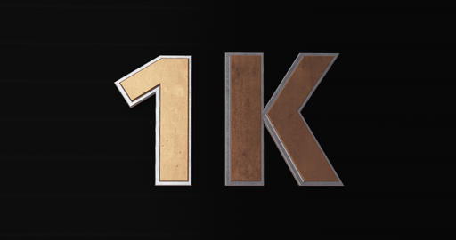 1K, 1000. 3D Promotion Intro. Gold Text Logo Animation