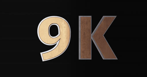 9K, 9000. 3D Promotion Intro. Gold Text Logo Animation