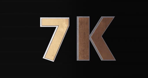 7K, 7000. 3D Promotion Intro. Gold Text Logo Animation