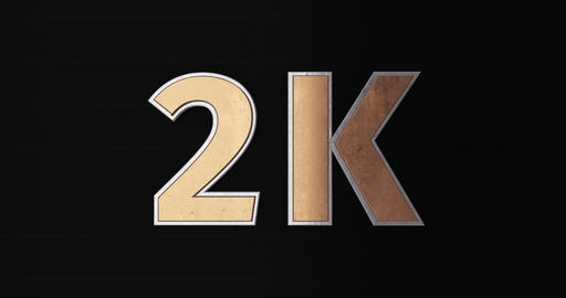 2K, 2000. 3D Promotion Intro. Gold Text Logo Animation