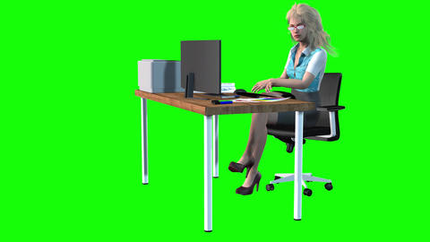 954 HD 3D animated business woman explains about her business 動畫