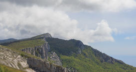 Clouds over the cliff. The ridge of Ai-Petri. Crimea Footage