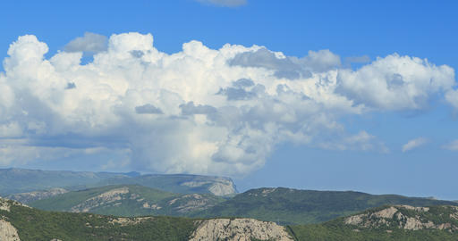 Clouds over the mountains, the south of the Crimea. Time Lapse Footage
